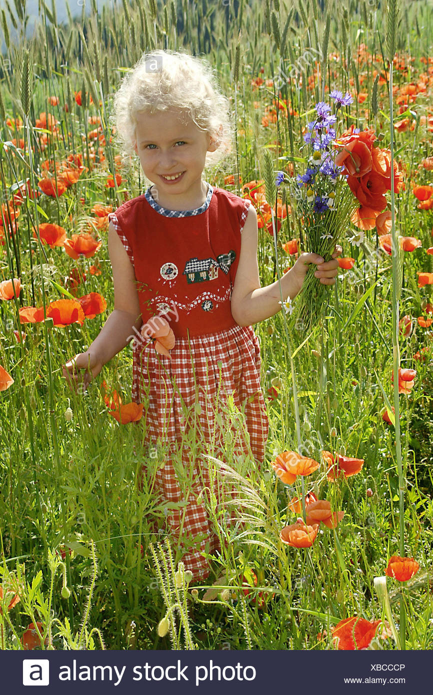 little girl in a field of poppies Stock Photo