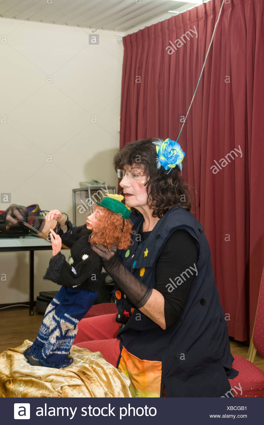 puppeteer with puppet - Stock Image