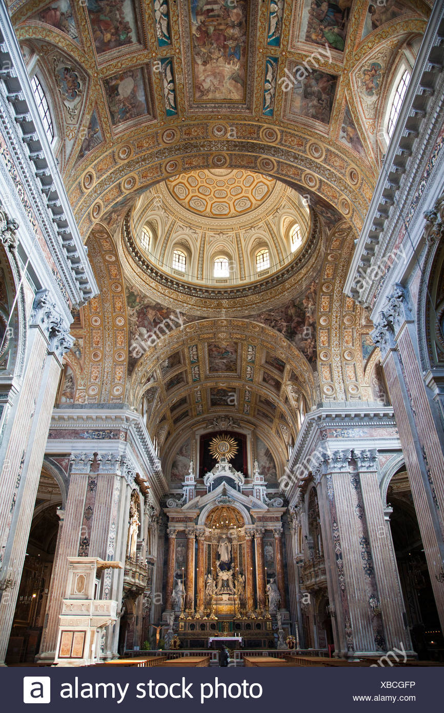 Campania, Gesu Nuovo, Golf von Neapel, Innenraum, Italien, Kampanien, Kirche, Meer, Mittelmeer, Neapel - Stock Image