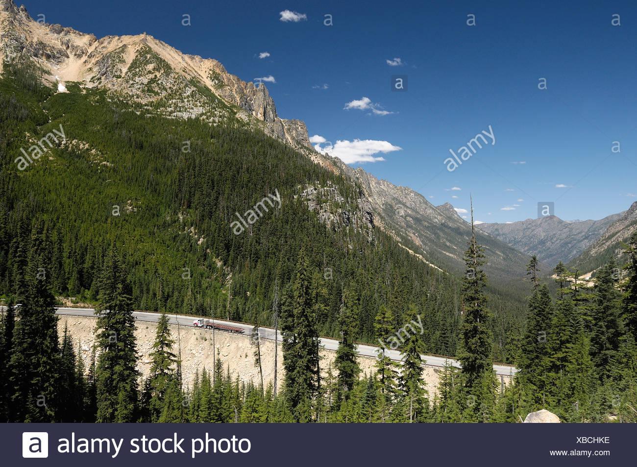 Highway 20 Washington Pass Mountain Road North Cascades National Park Marblemount Washington USA pass mountains forest - Stock Image