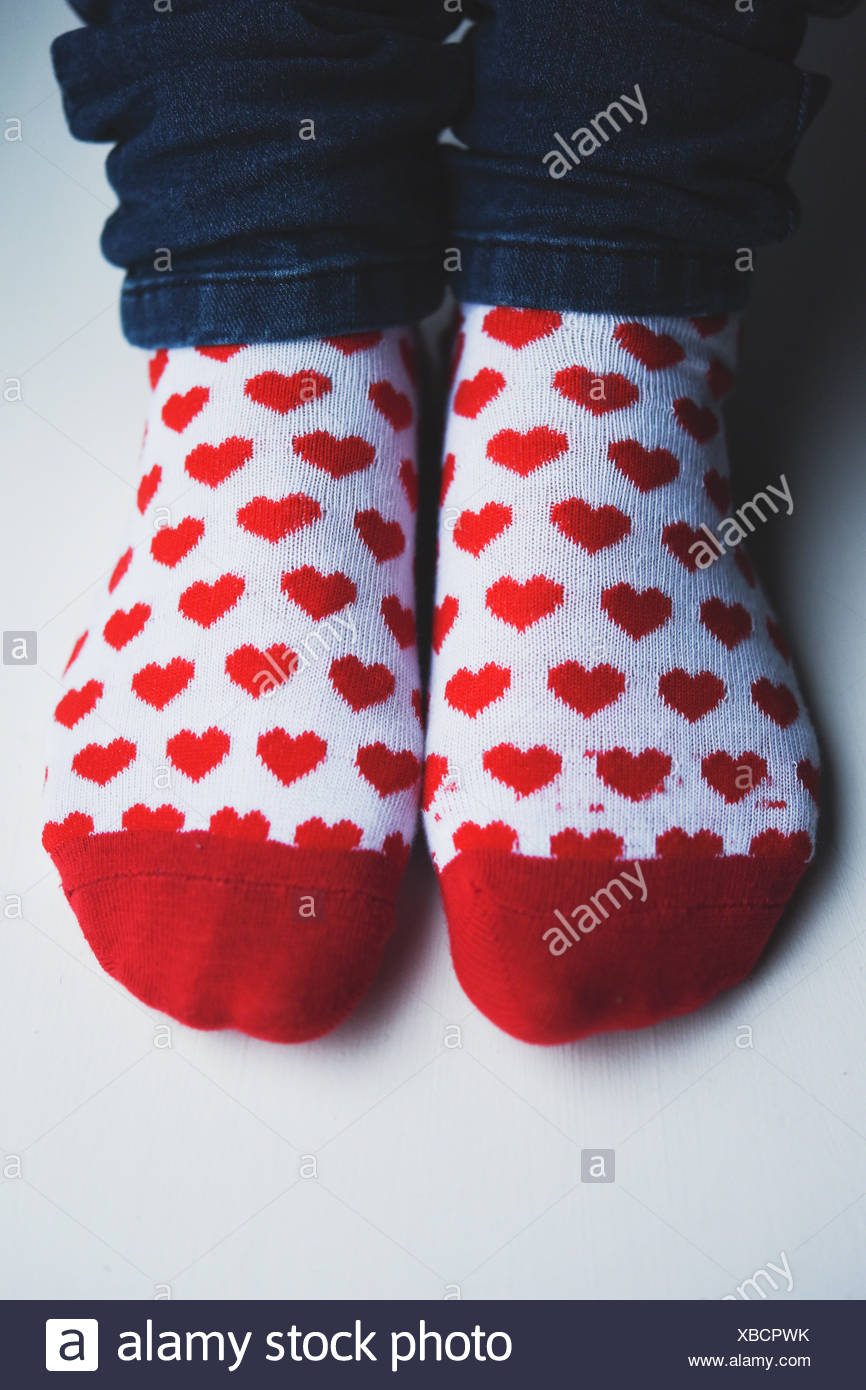 Woman's socks with hearts - Stock Image
