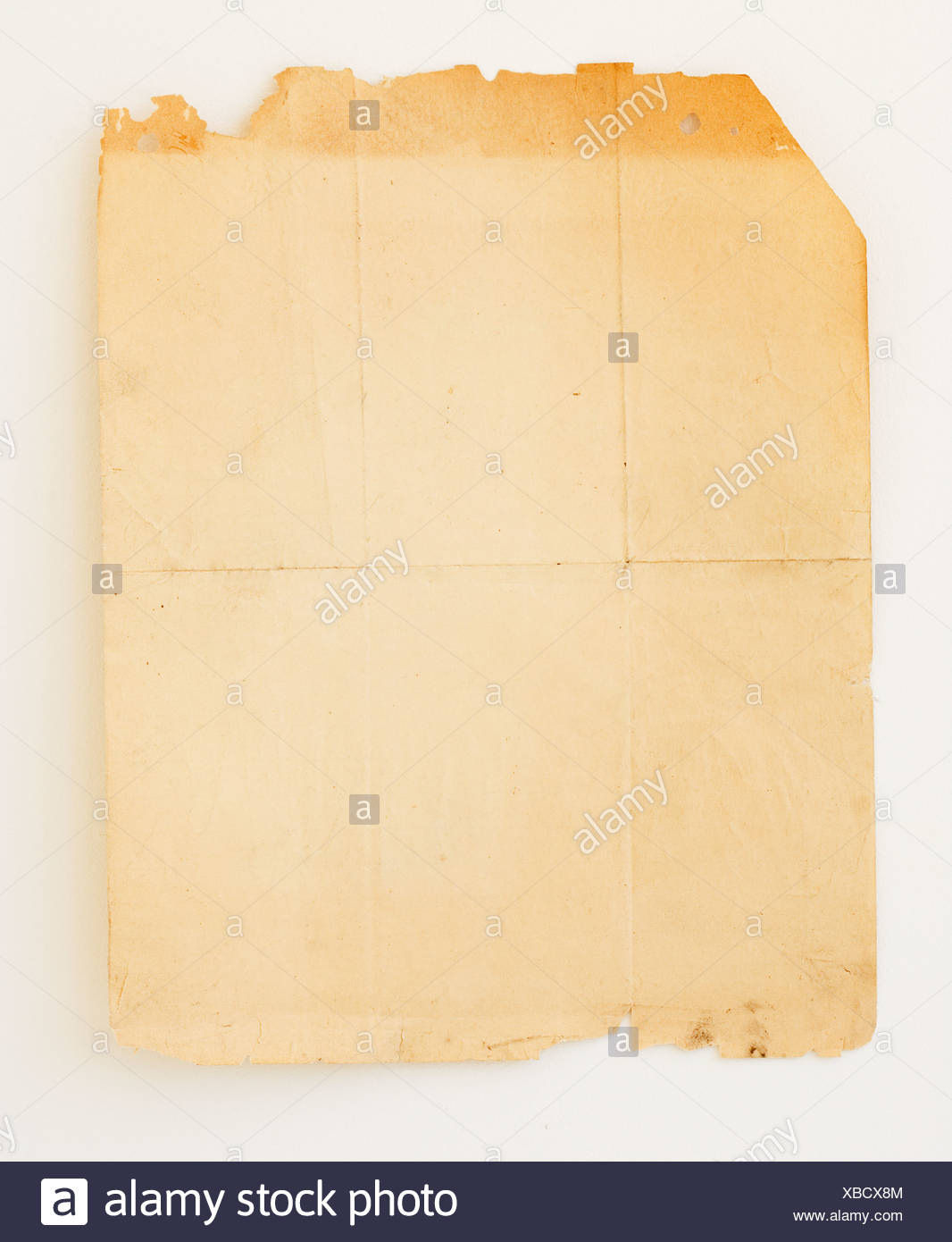 Old piece of paper with crease lines - Stock Image