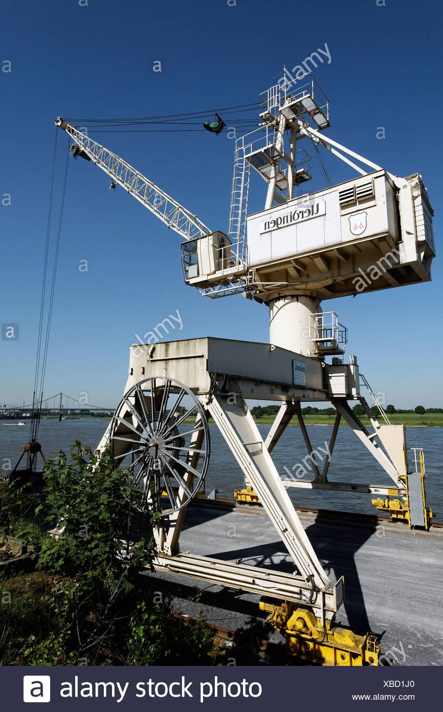 Port crane, Rhine port Krefeld-Uerdingen, North Rhine-Westphalia, Germany, Europe Stock Photo