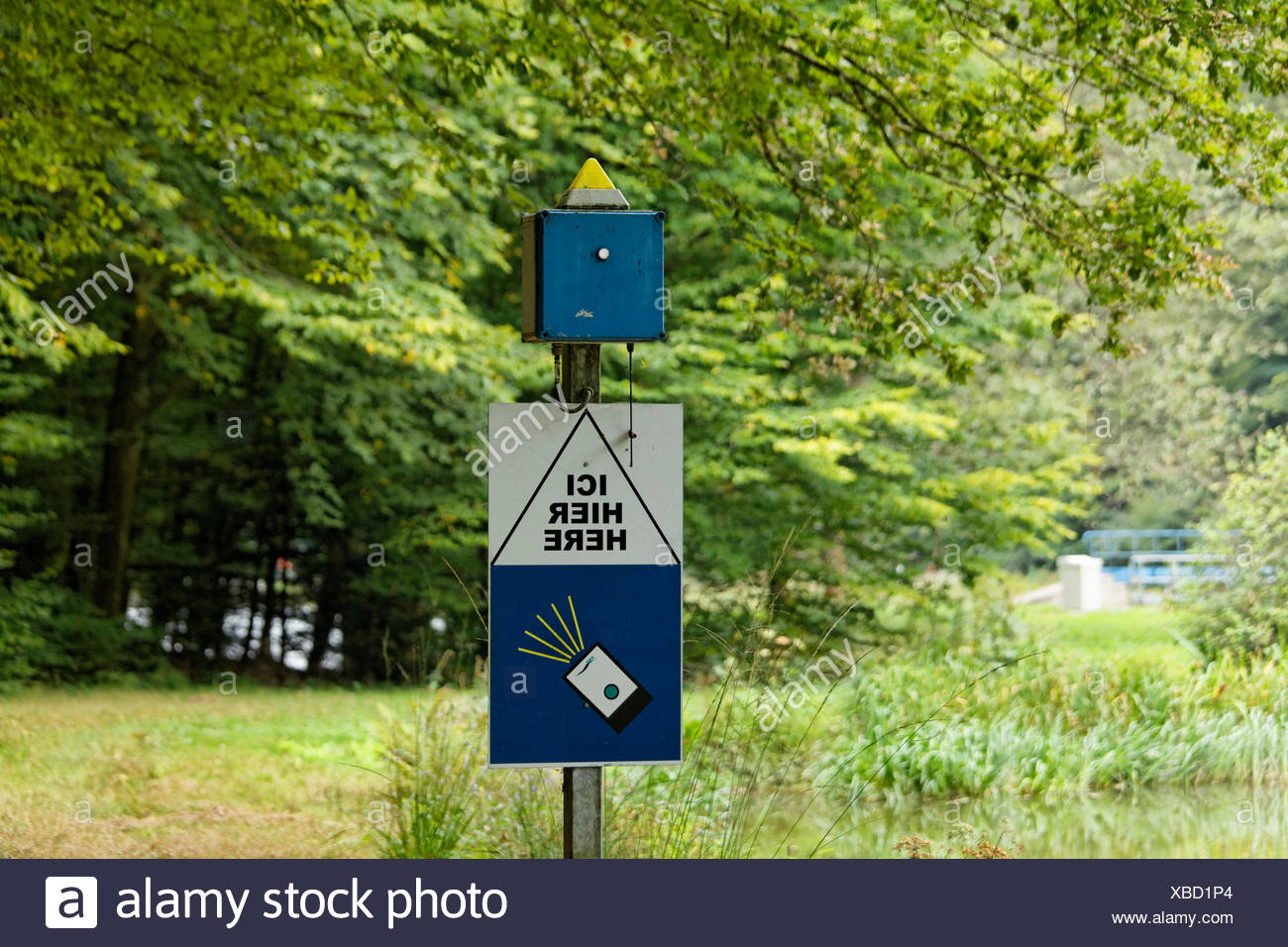 Radio receiver for the remote control of the sluices, Void-de Girancourt, Lorraine, Département Vosges, France - Stock Image