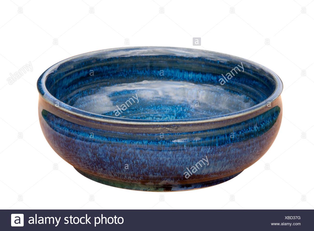 Steingut Keramik schale kunst handwerk ton glasur blau keramik steingut stock photos