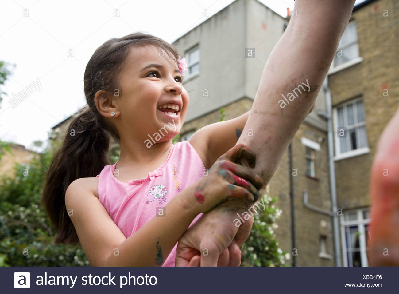 Child & Adult messy play - Stock Image