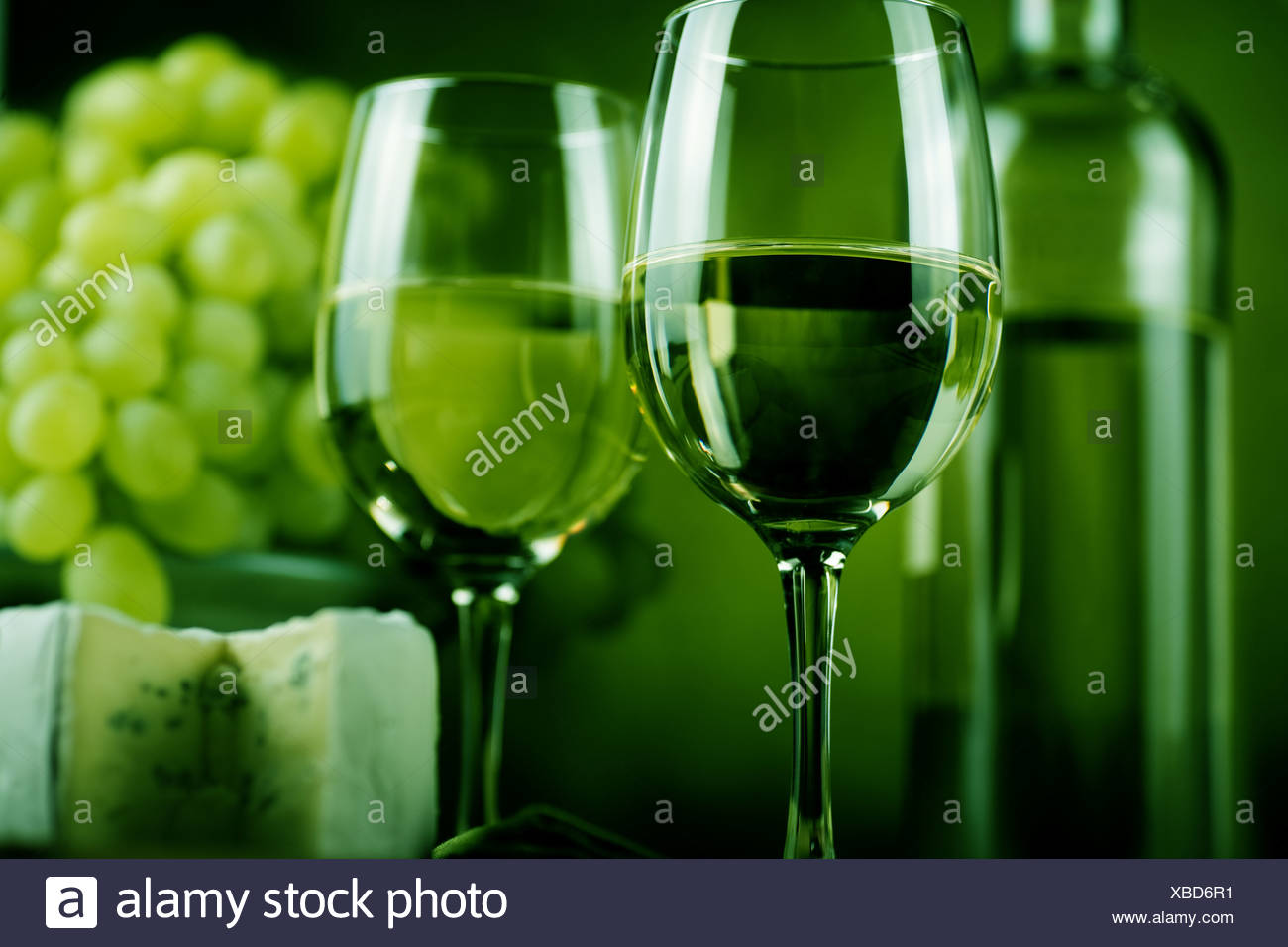 wine bottle and cheese - Stock Image
