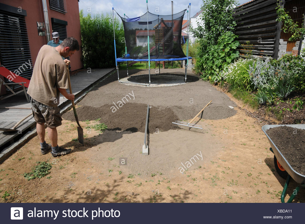 Laying sod, preparing soil Stock Photo