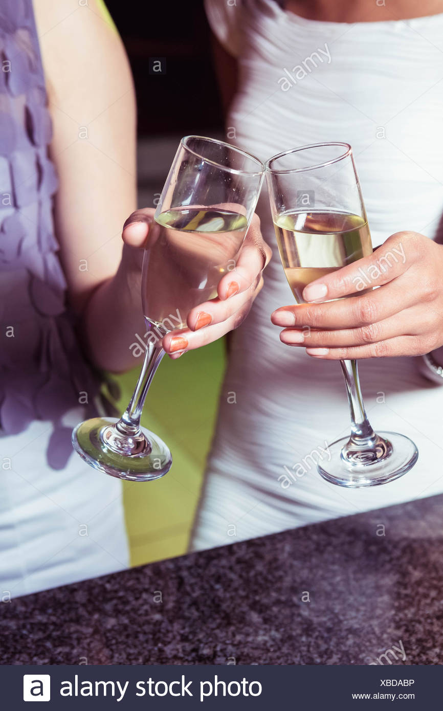 Young women toasting champagne flute - Stock Image