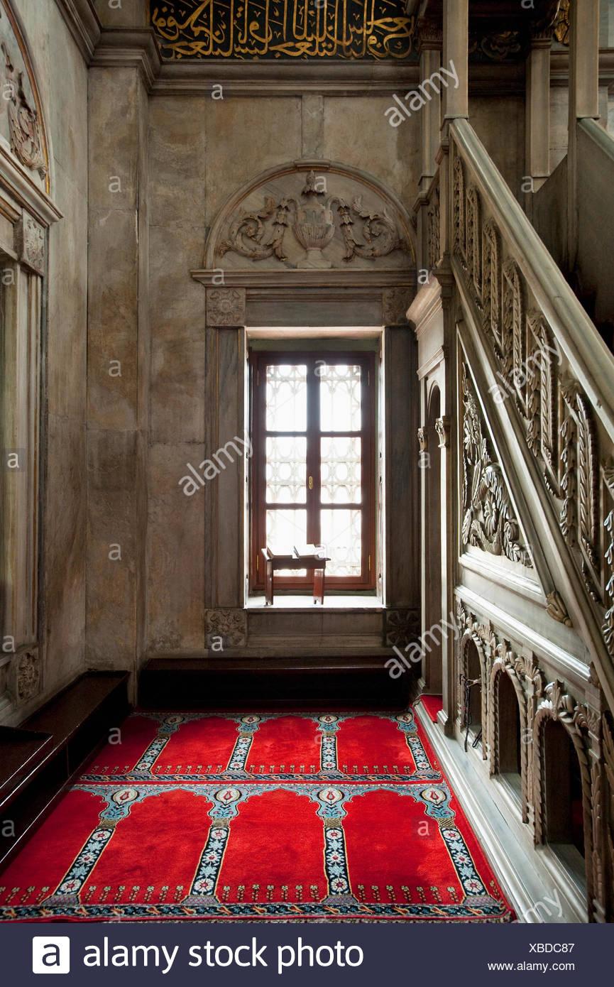 Turkey, Copies of Qaran or Koran in window of Nusretiye Mosque; Istanbul - Stock Image