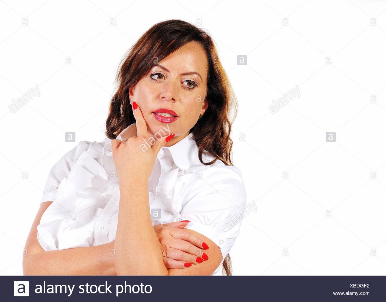 Geschäftsfrau denkt nach Stock Photo