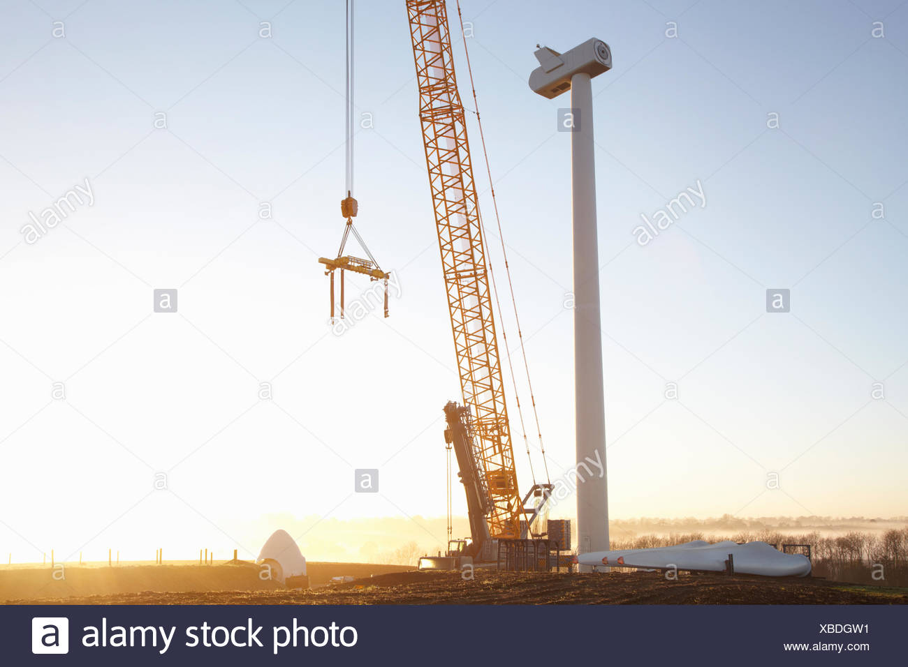 Wind turbine being erected - Stock Image