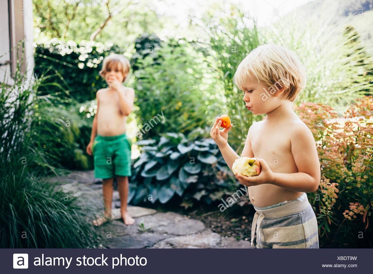 Boys on garden path eating apples and oranges, Bludenz, Vorarlberg, Austria - Stock Image