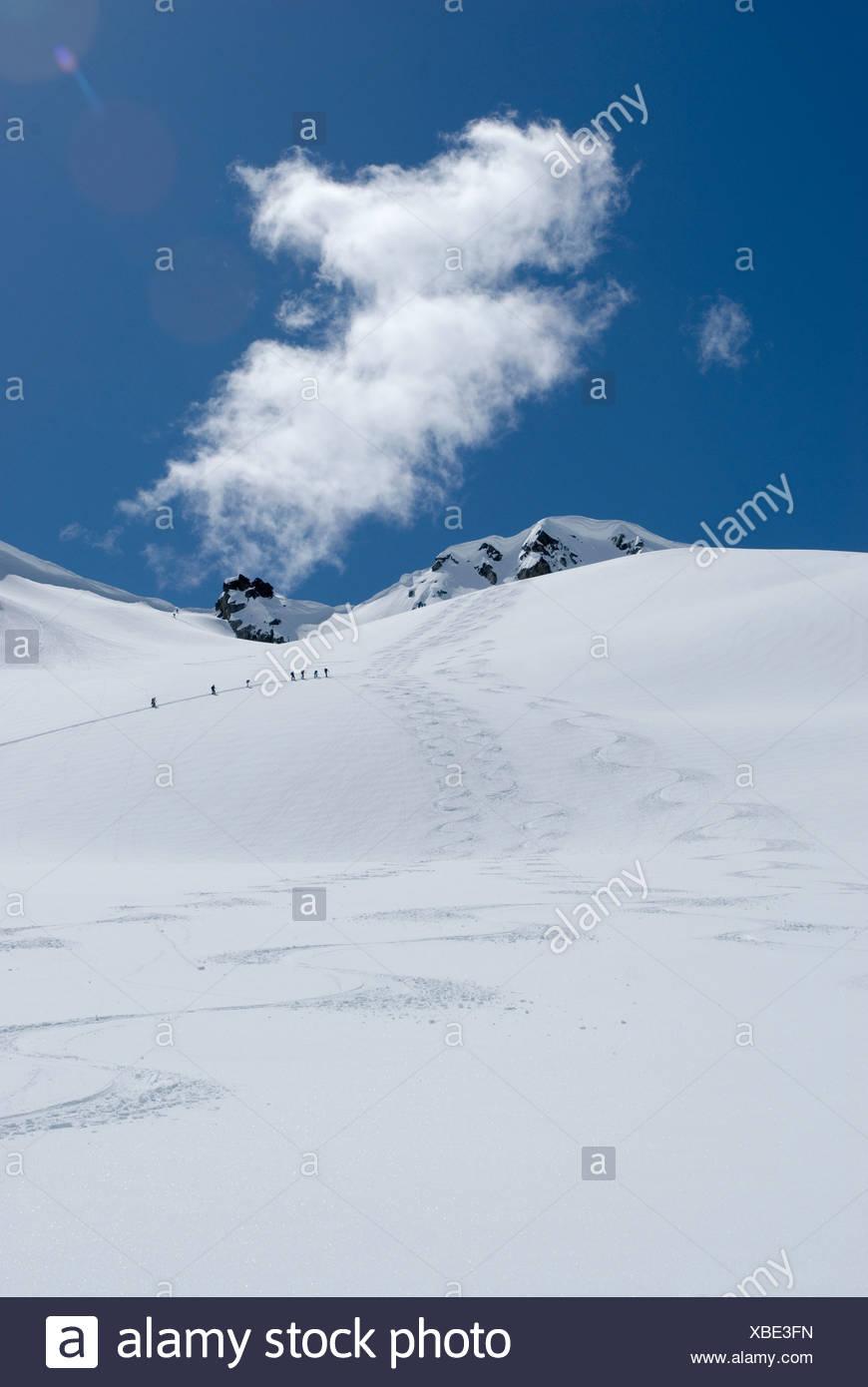 A busy day on the Decker Glacier Garibaldi Provincial Park Whistler BC Canada - Stock Image