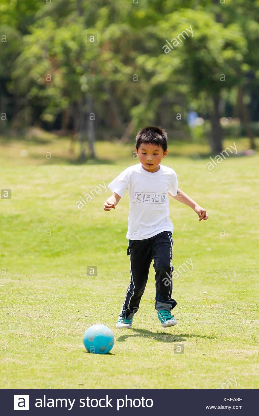 Little football player (6-7) Stock Photo