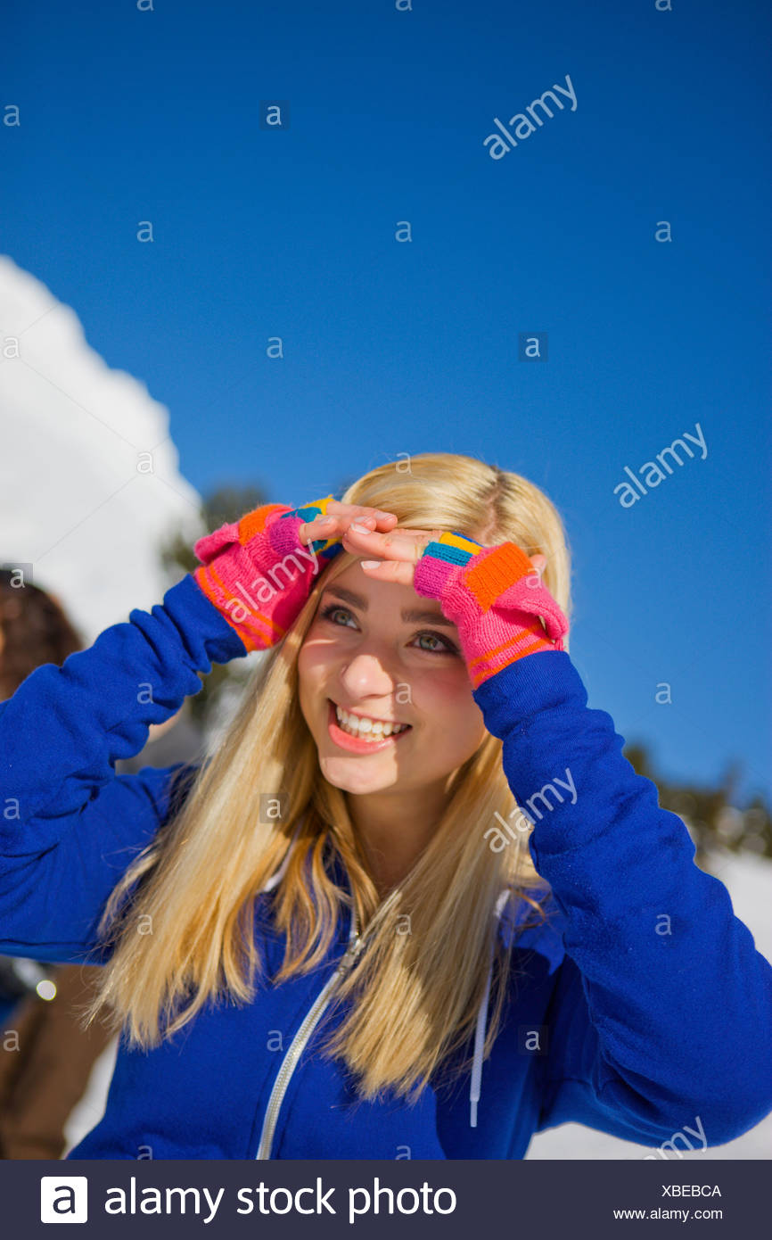 An adolescent girl on Mt. Hood, Oregon. - Stock Image