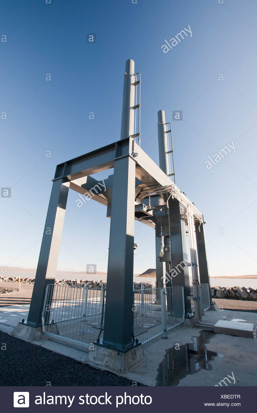 The gate valve at Karahnjukar hydro scheme in north East Iceland - Stock Image