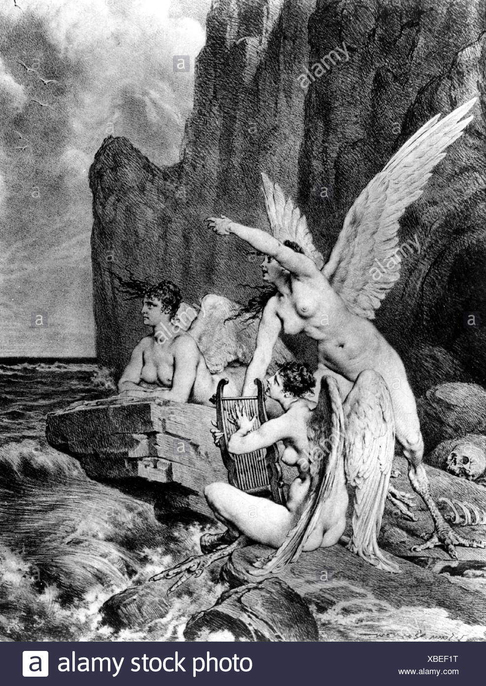 Sirens, Greek mythical creatures, luring seafarers into a trap with their singing, etching by Heinrich Lossow, 19th century, Additional-Rights-Clearances-NA - Stock Image