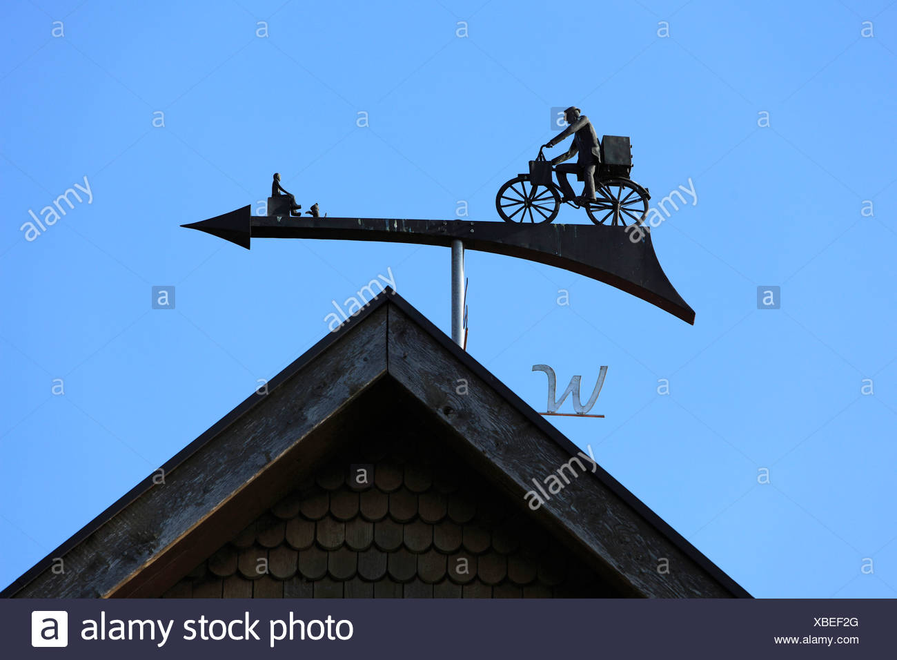Wind direction, indicator, house roof, Essen, Oldenburg, Oldenburger Munsterland, Lower Saxony, Germany, Europe, arrow, wind - Stock Image