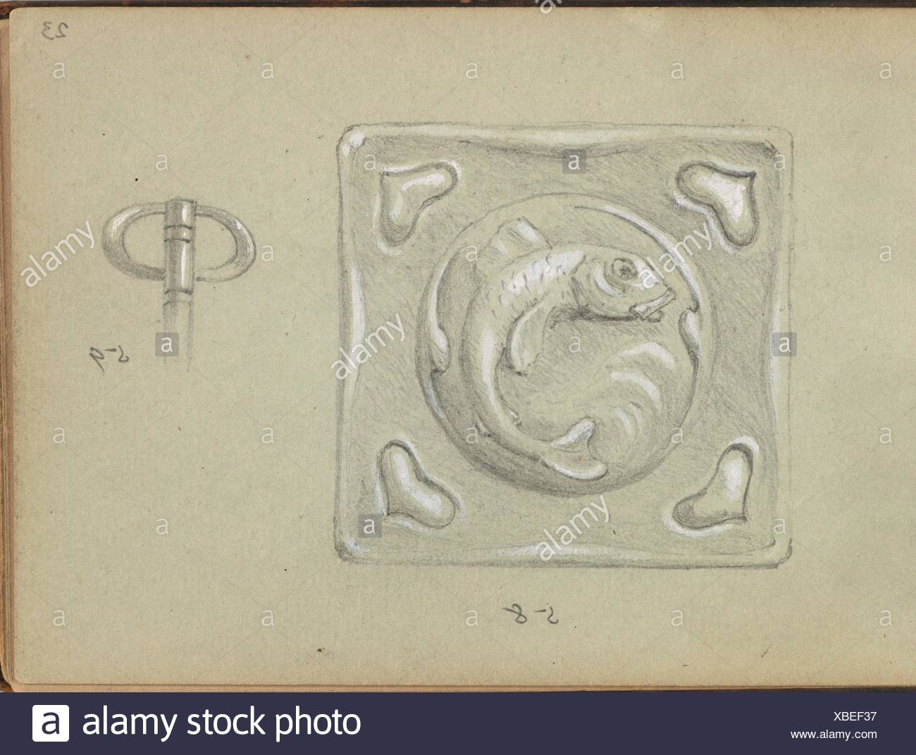 Design for a Decorative (Key?) Plate and a Key Grip. Artist: Edgar Gilstrap Simpson (British, 1867-1945 (presumed)); Date: 1899; Medium: Graphite and - Stock Image