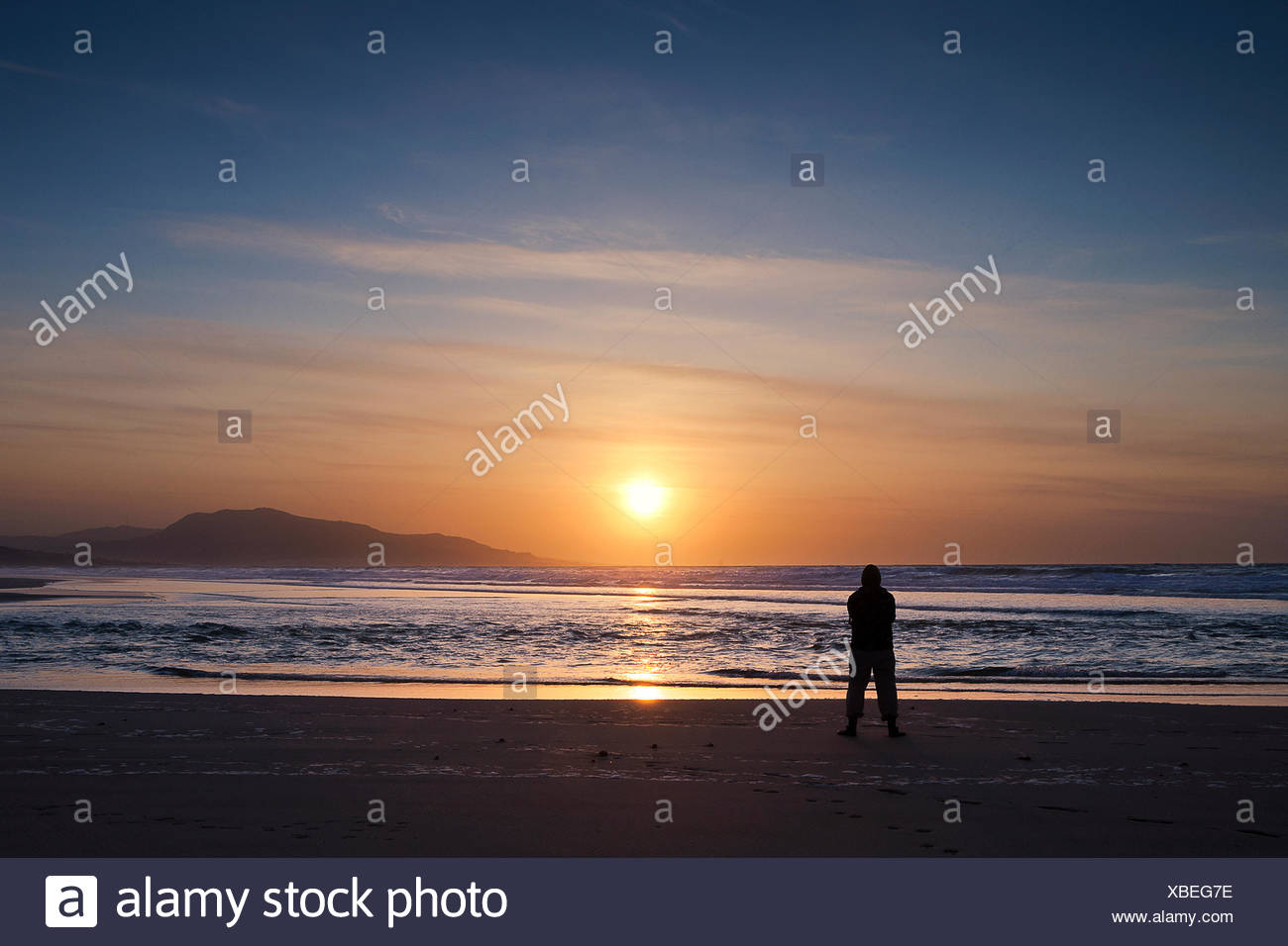 349b3c8909 Sunset On Beach Tarifa Spain Stock Photos & Sunset On Beach Tarifa ...