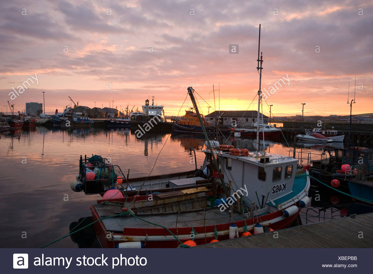 Fishing boats in the harbor, Kirkwall, Orkney Islands, Scotland, United Kingdom, Europe - Stock Image