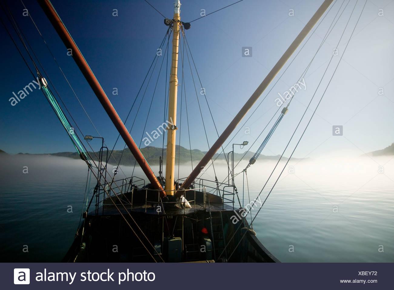 MV Uchuck III, supply vessel,, Western Vancouver Island, Vancouver Island, British Columbia, Canada - Stock Image