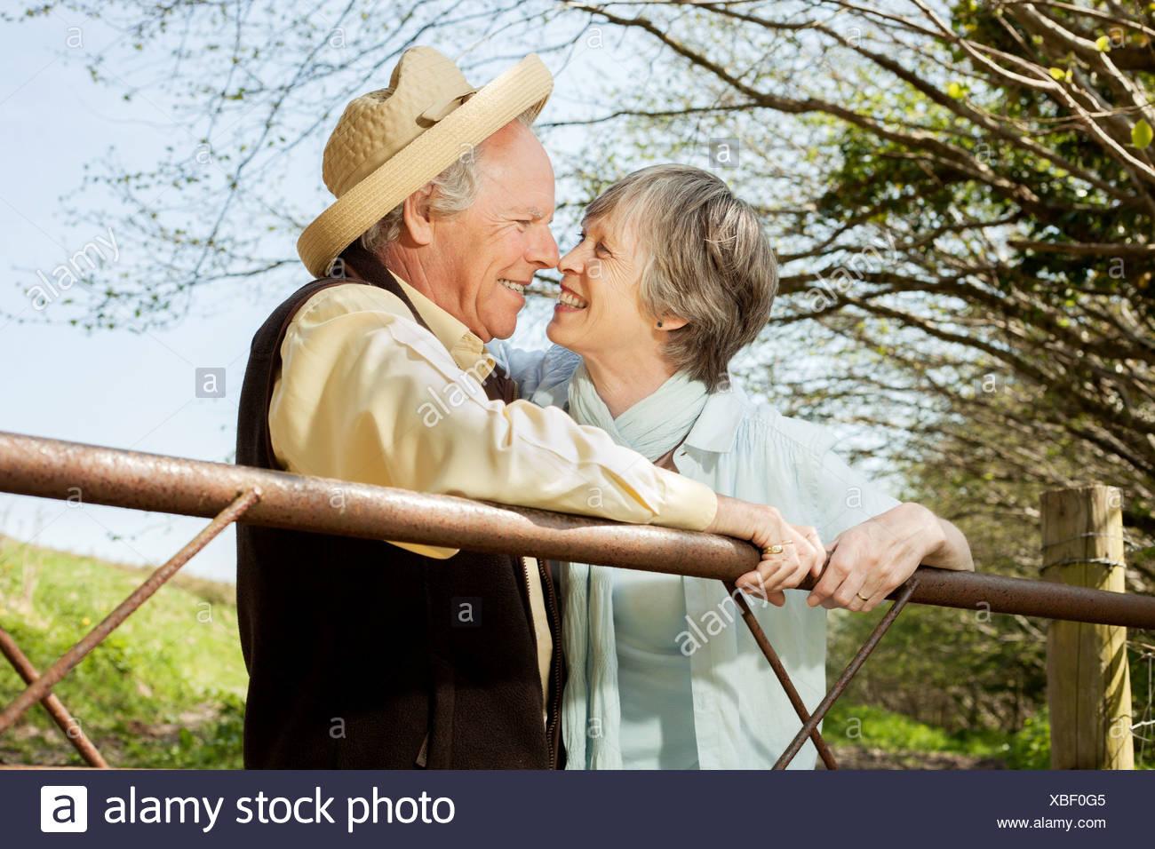 Senior couple nose to nose - Stock Image