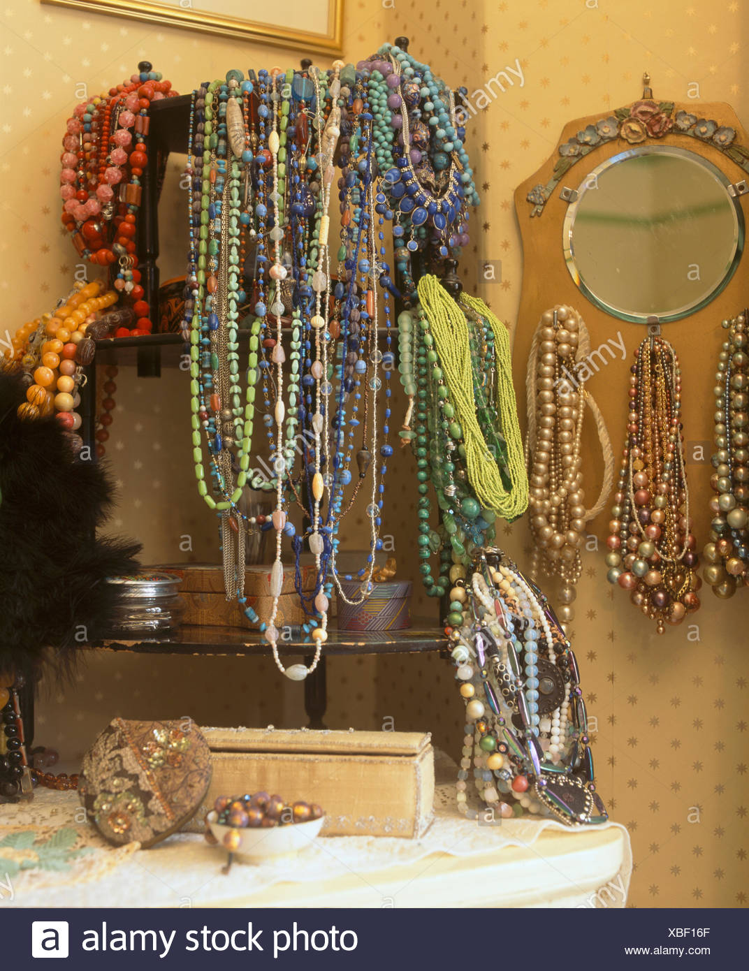 Close-up of collection of twenties and thirties glass bead necklaces - Stock Image