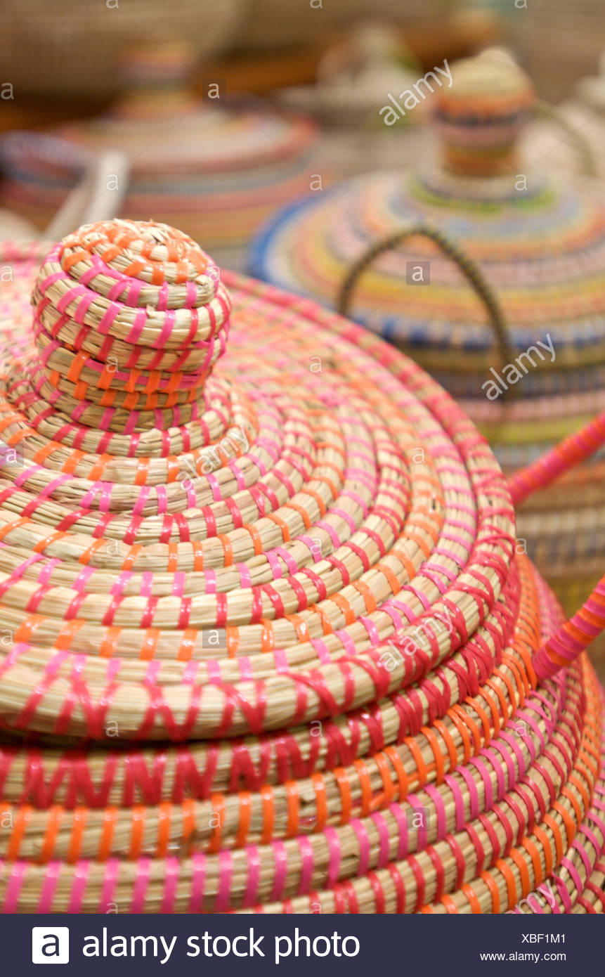 Bast baskets, colourful, - Stock Image