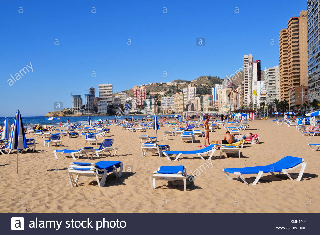 geography / travel, Spain, vacuity loungers at beach of Benidorm, Costa Blanca, Additional-Rights-Clearance-Info-Not-Available - Stock Image
