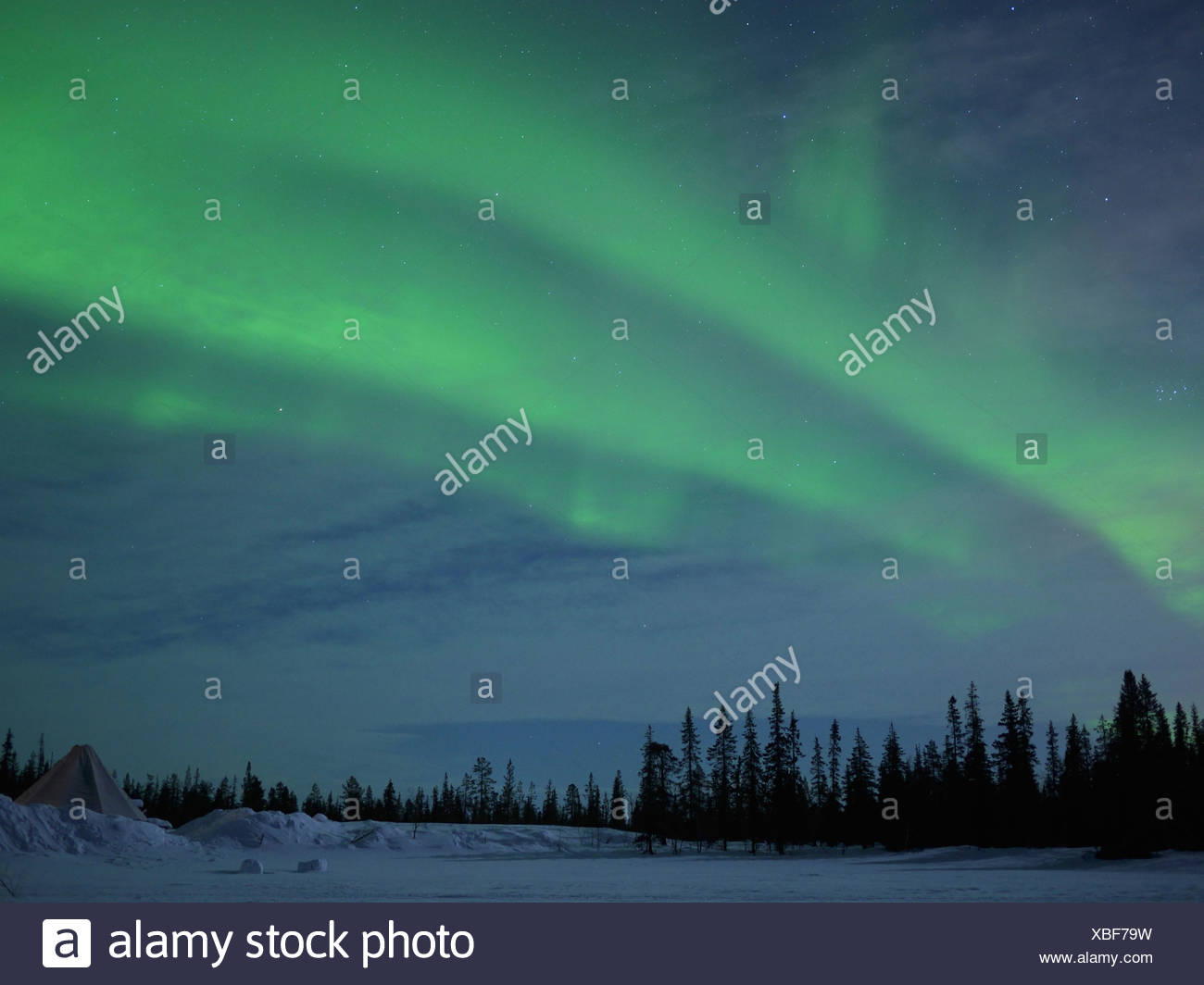 northern lights, kiruna, norrbottens län, lappland, sweden - Stock Image
