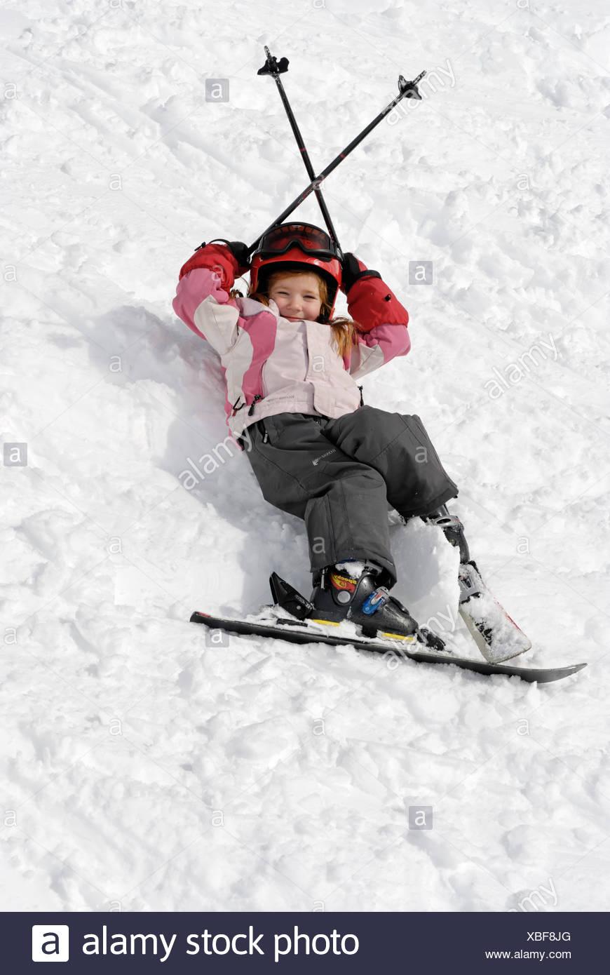 Girl skiing - Stock Image