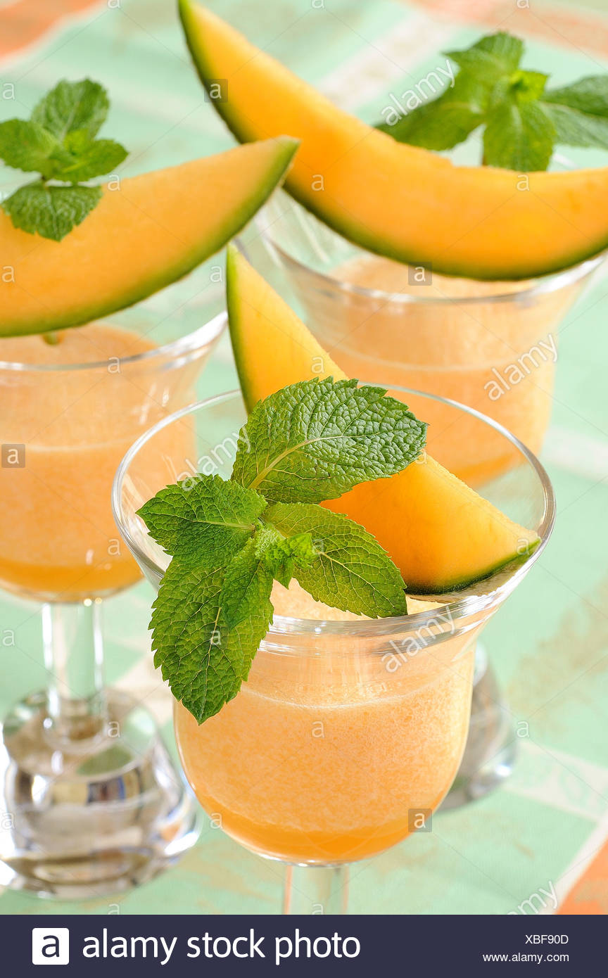 Chilled melon soup - Stock Image