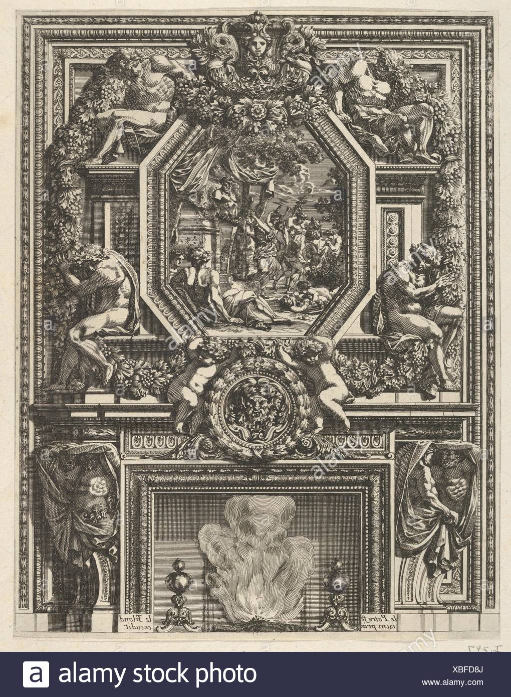 Chimney with a Bacchanal over the Mantle from 'Grandes Cheminée'. Artist and engraver: Jean Le Pautre (French, Paris 1618-1682 Paris); Publisher: - Stock Image