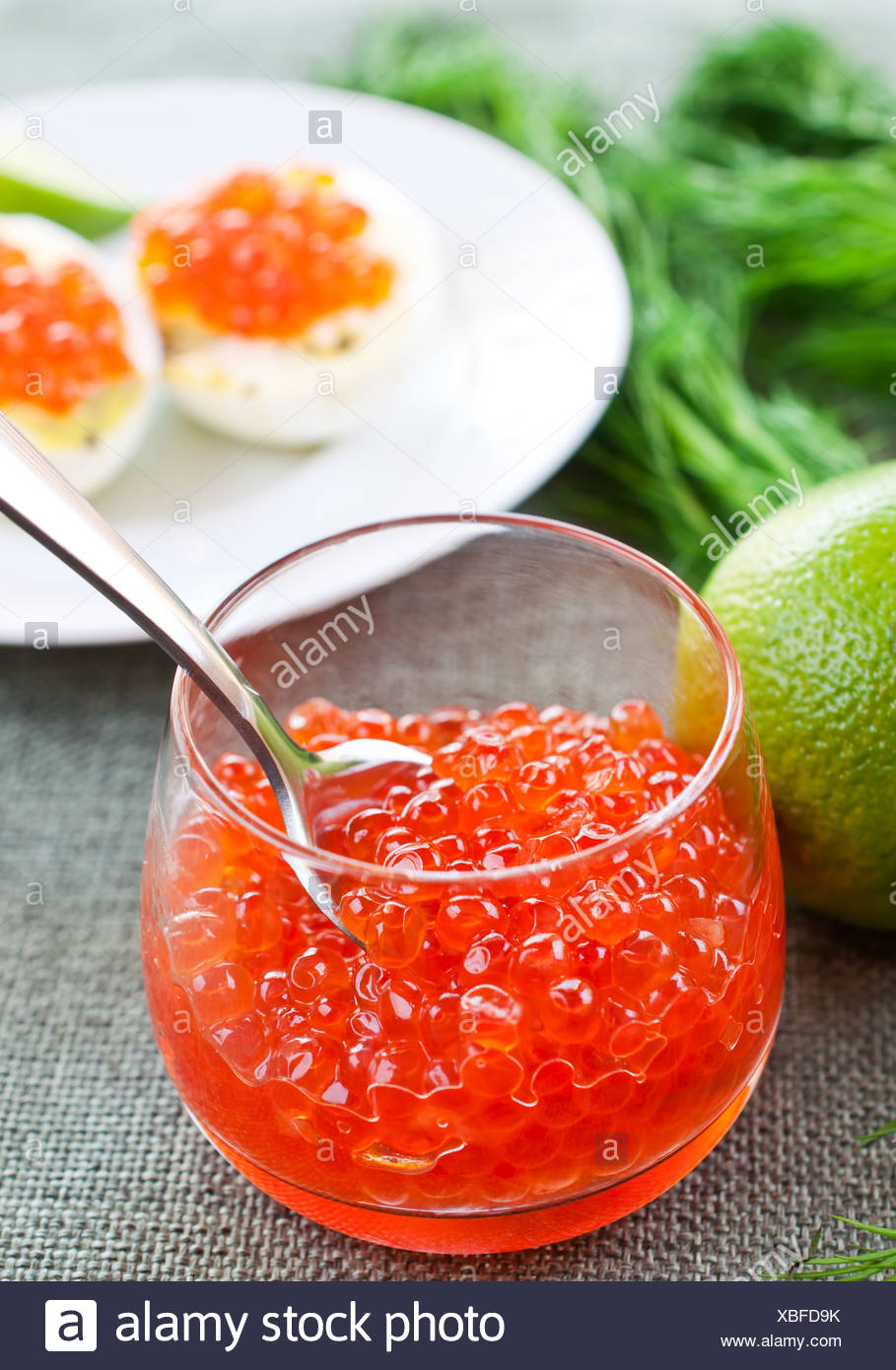 Salmon caviar in glasses on dill and lime background - Stock Image
