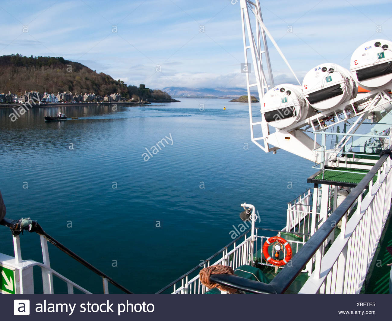 Life saving equipment on board the Oban to Mull car ferry - Stock Image