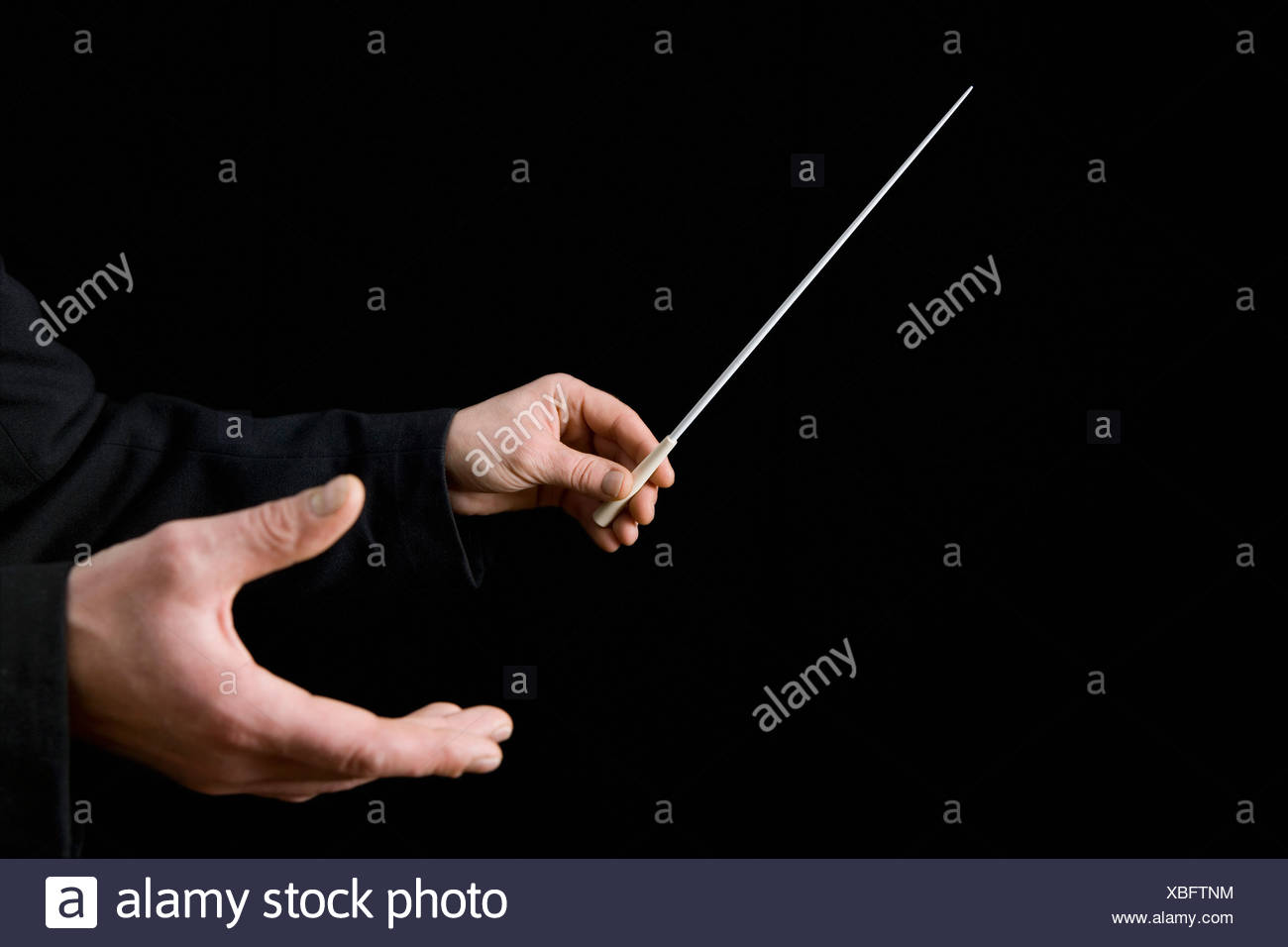Conductor holding a baton - Stock Image