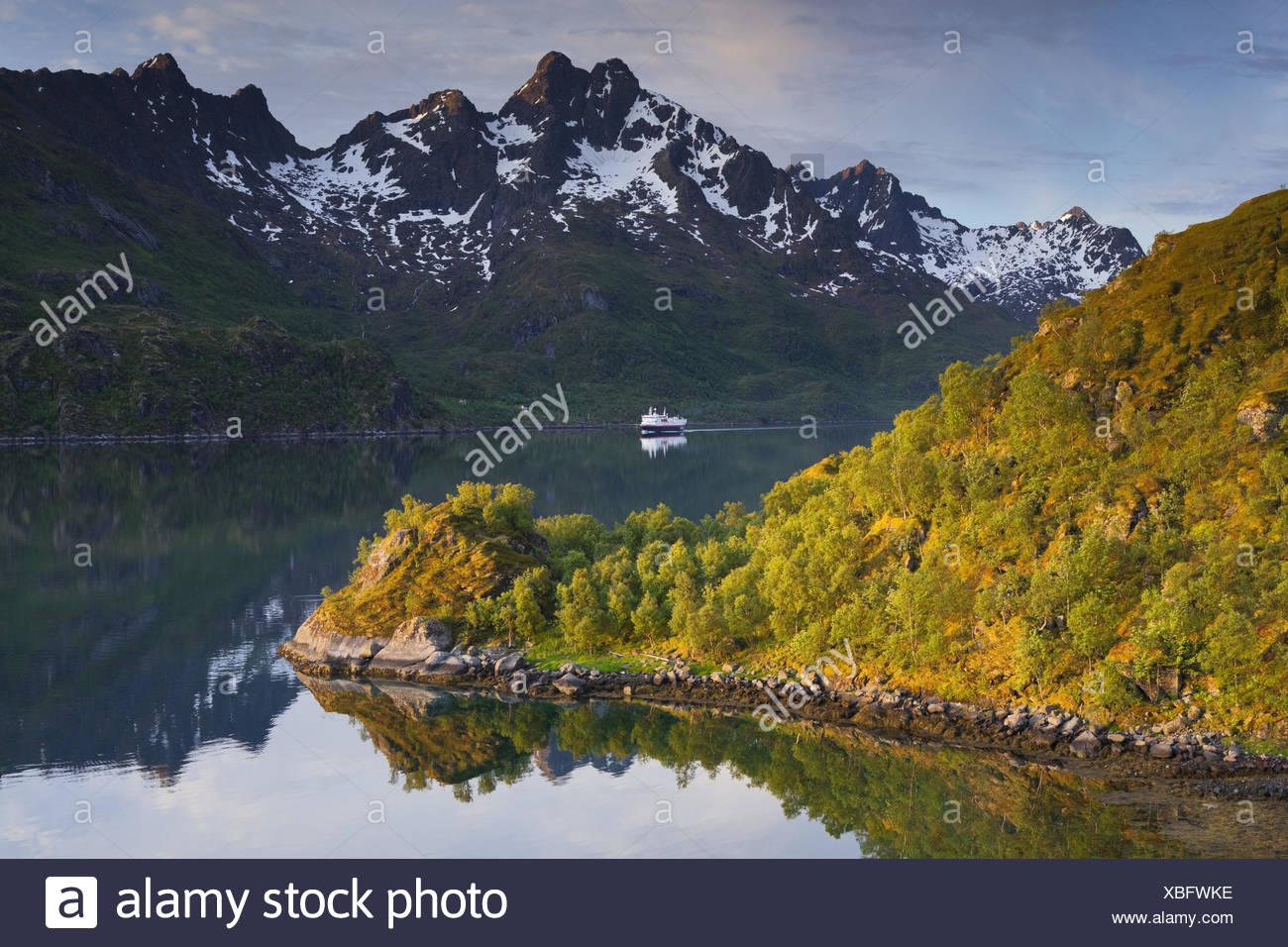 Norway, northern country, Lofoten, Raftsundet, Hurtigruten (ships), ship, - Stock Image