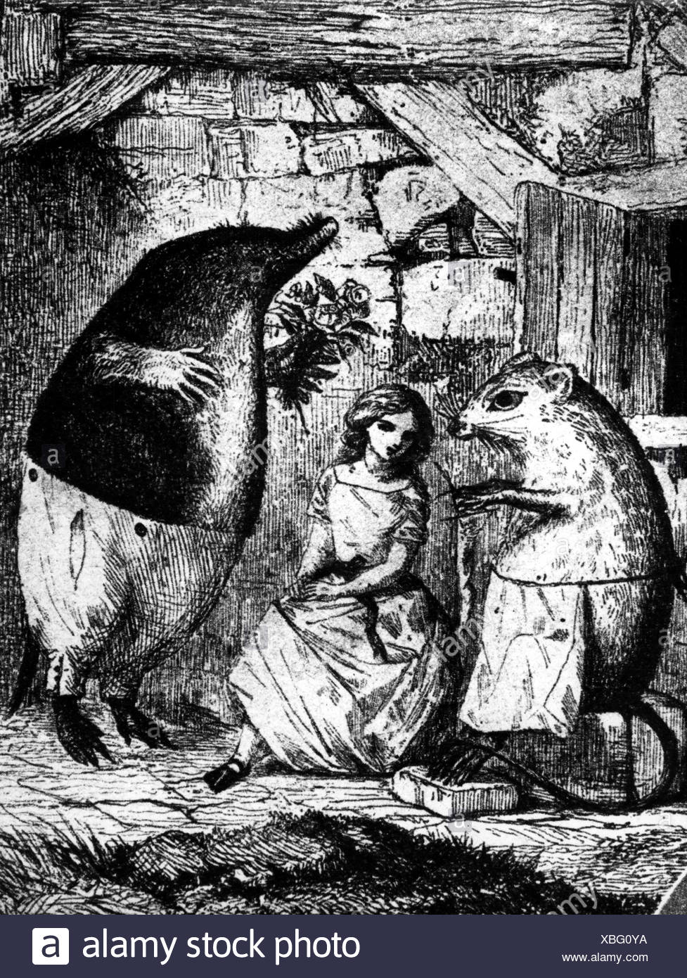 Andersen, Hans Christian, 2.4.1805 - 4.8.1875, Danish author / writer, fairytale 'Thumbelina', drawing, Additional-Rights-Clearances-NA - Stock Image