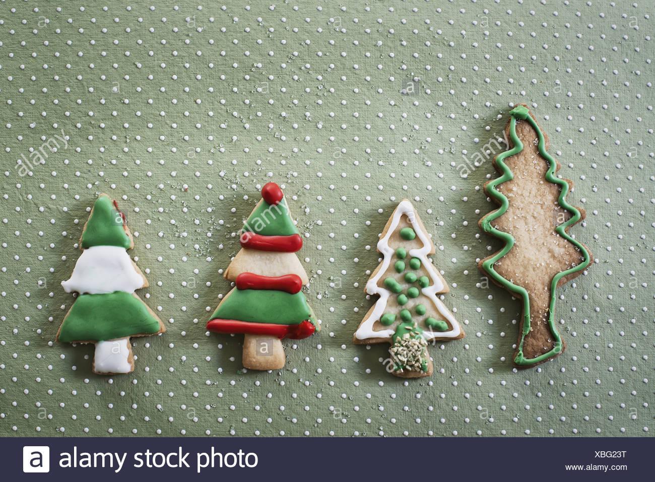 Woodstock New York USA Christmas cookies shaped like Christmas trees - Stock Image