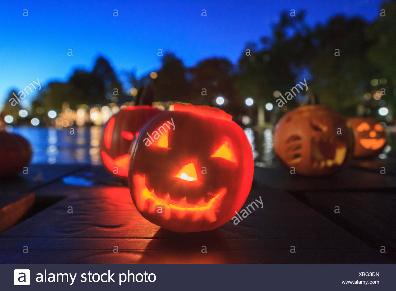 Lit Up Halloween Pumpkins Jack O Lantern At Boston Common ...
