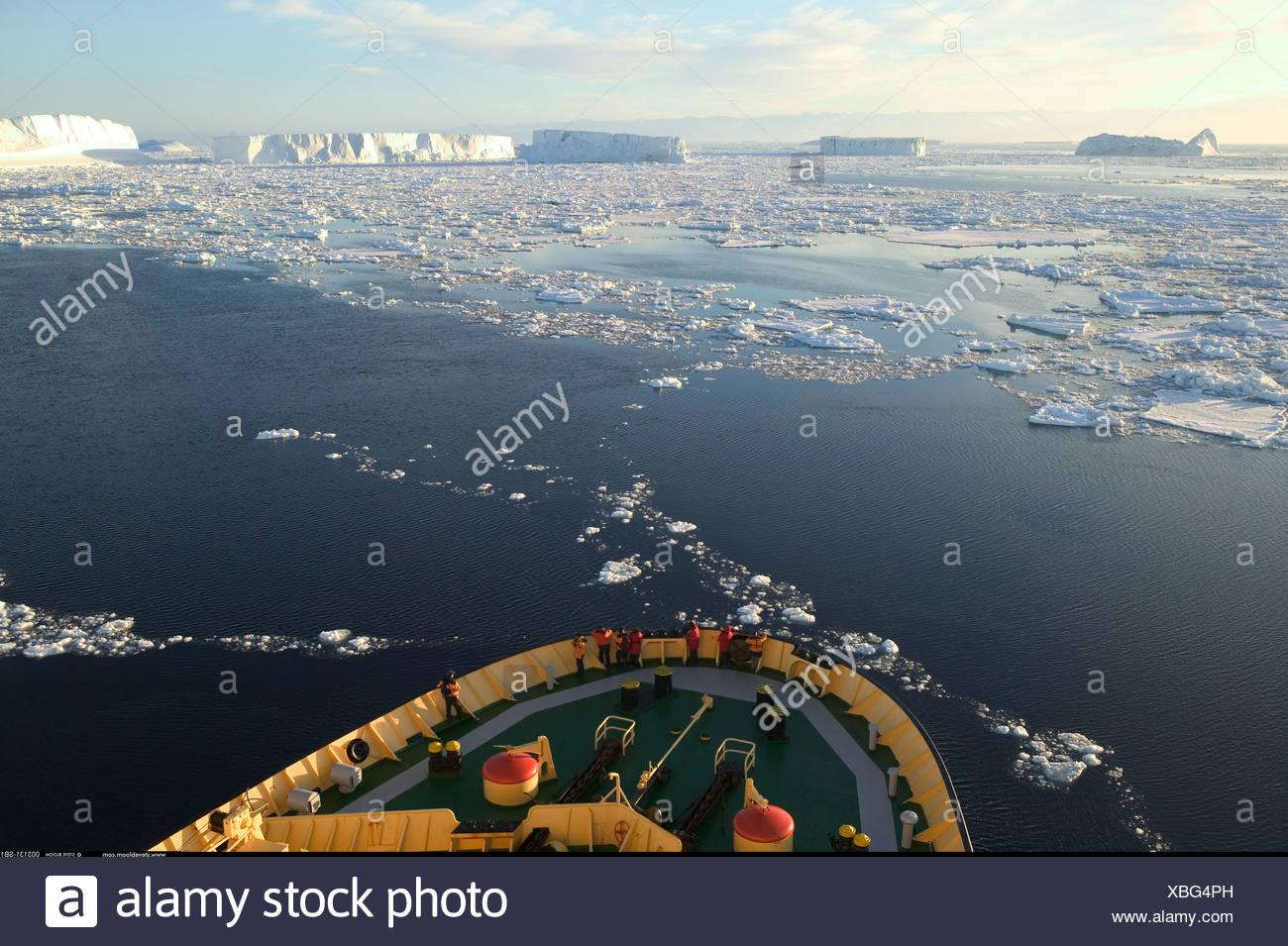 Icebreaker in Cape Hallet Antarctica - Stock Image