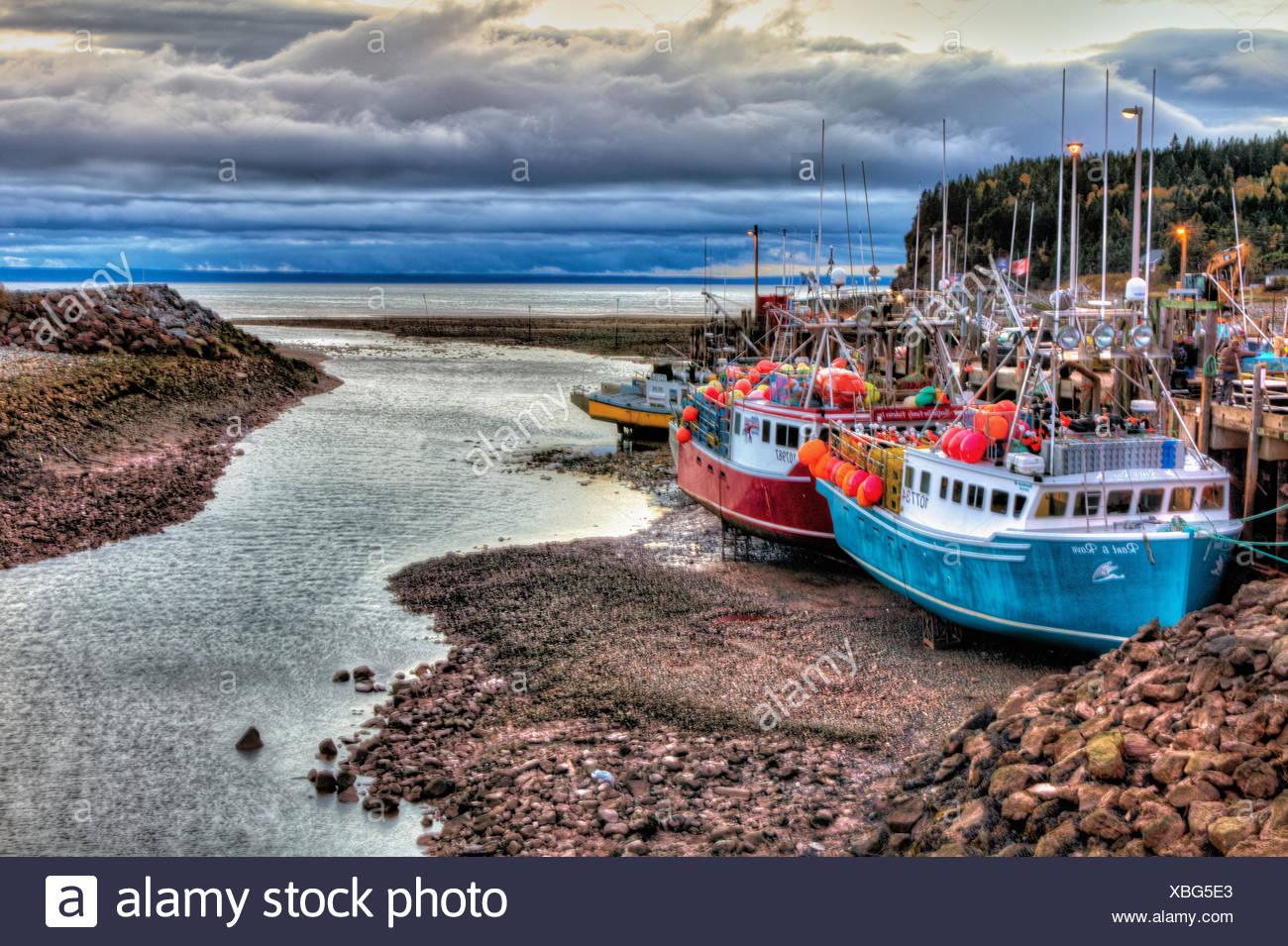Fishing boats at low tide, Bay of Fundy, Alma, New Brunswick
