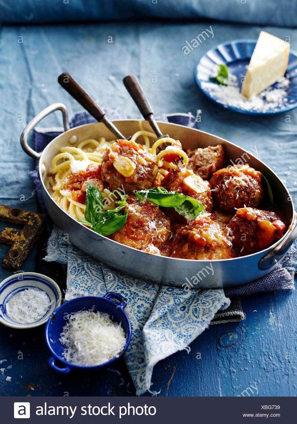 Pork meatballs with fennel seeds, close-up - Stock Image