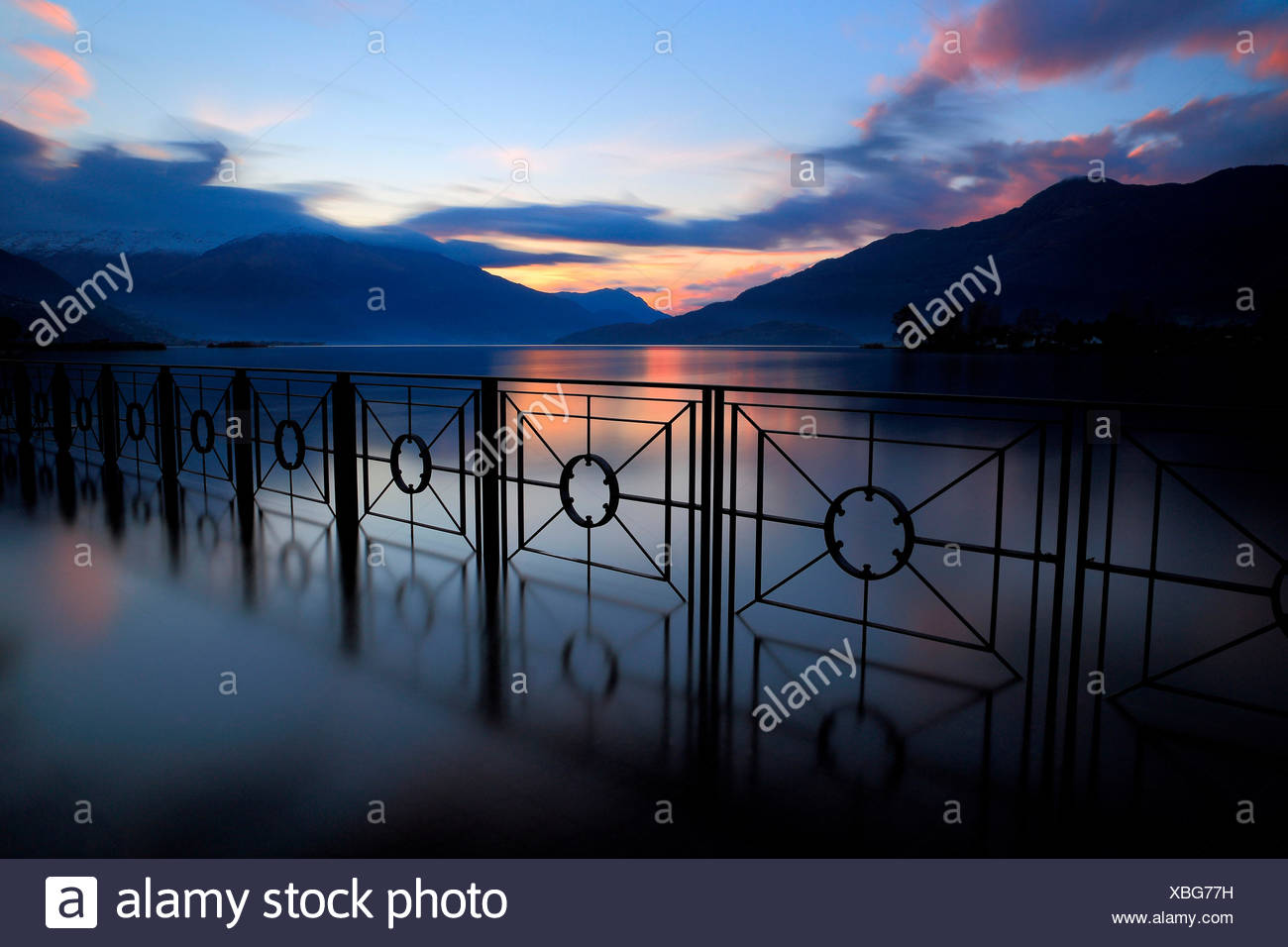 Sunset on Sorico, river Mera, Lake Como, Lombardy, Italy Stock Photo