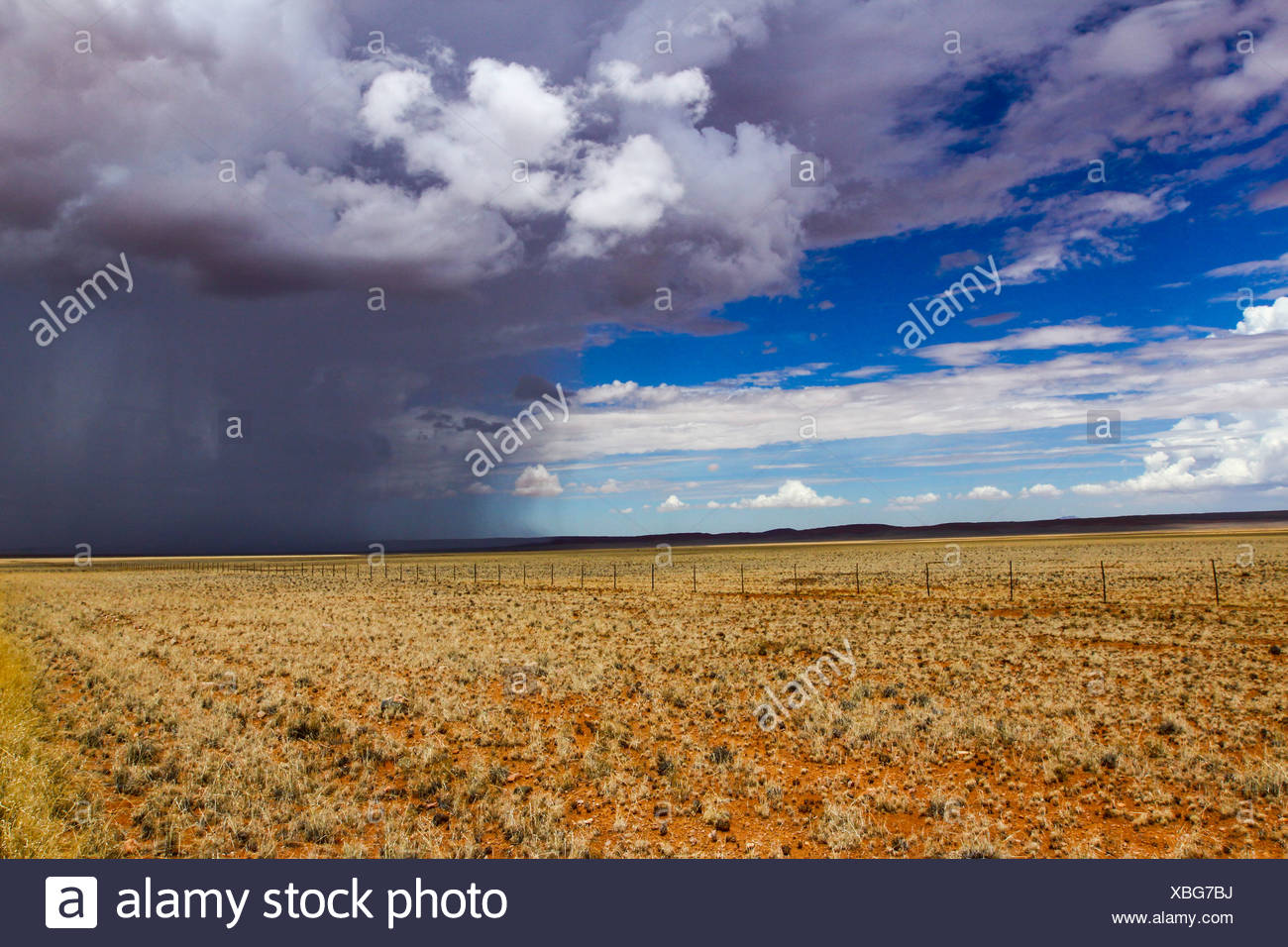 Rain front approaching at Helmeringshausen on road D707, south of Namibia, Africa Stock Photo