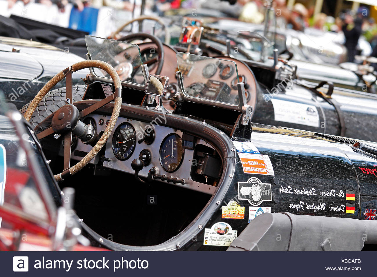 Pre-war classic cars parked in the pedestrian zone of Kitzbuehel, Kitzbuehel Alpine Rally 2011, Tyrol, Austria, Europe - Stock Image