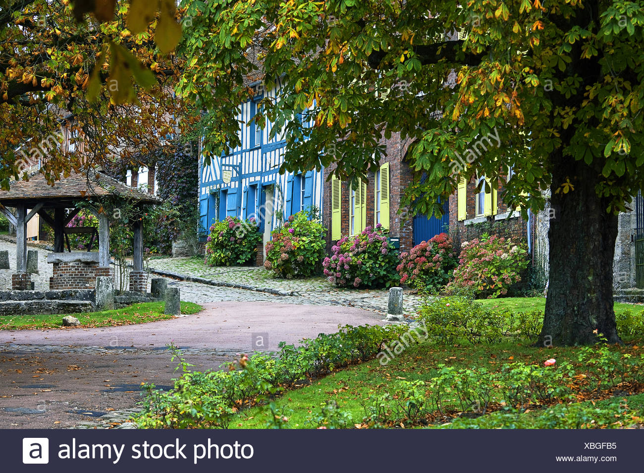 Market place, Gerberoy, Picardy, France Stock Photo