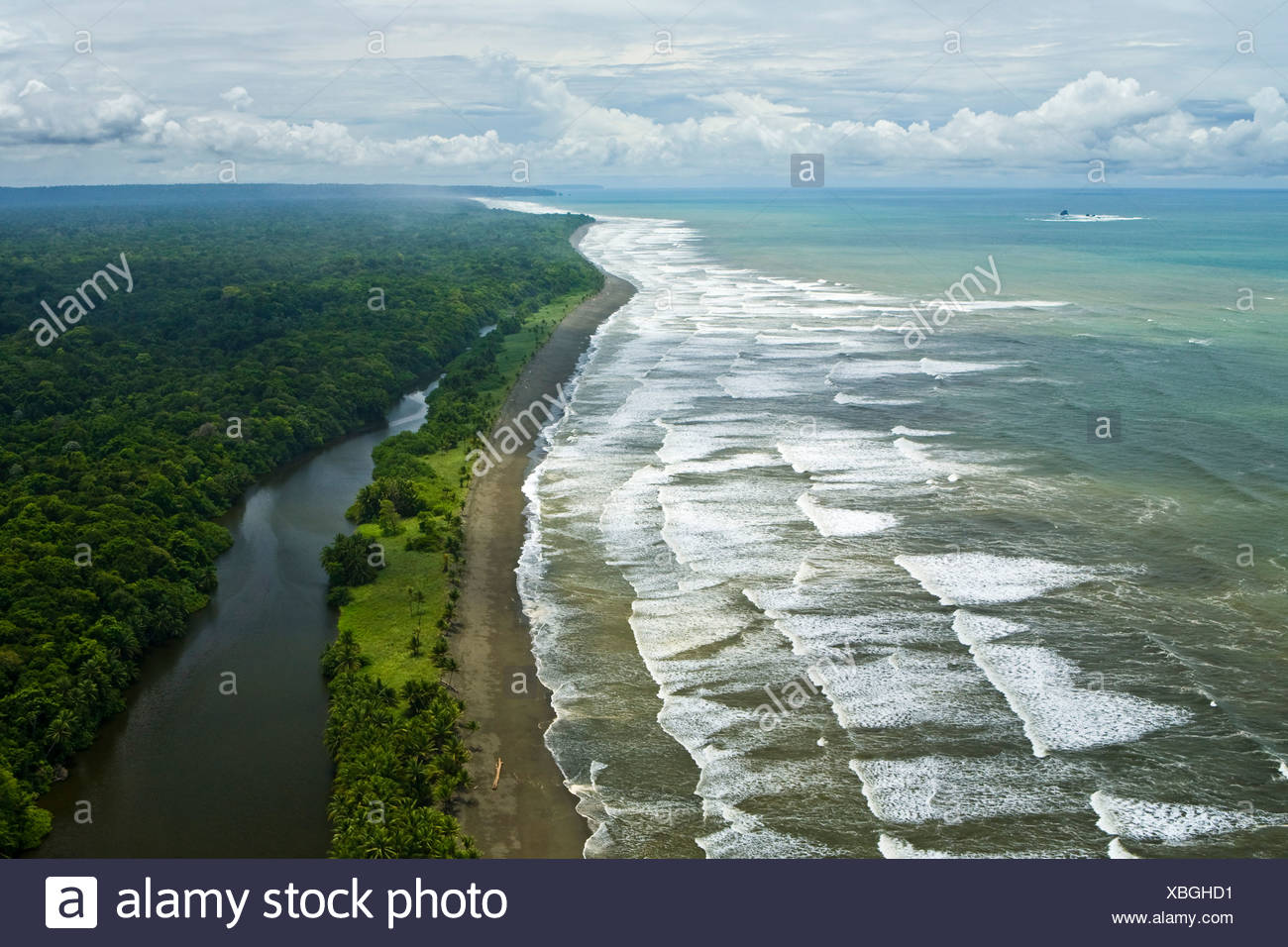 Aerial view, Pacific coast at the Corcovado National Park on the Osa Peninsula, Puerto Jimenez, Coasta Rica, Central America - Stock Image